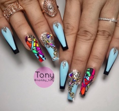 Sky blue and black Acrylic nail design idea for coffin nails